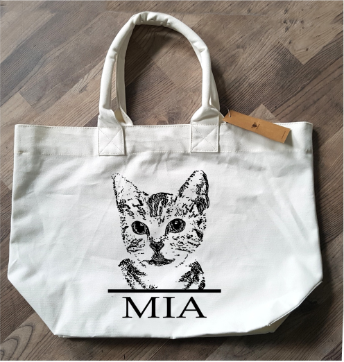 Shopper - Tasche mit Bild und dem Namen von Ihrem Haustier - Shopper with pic and name of your pet